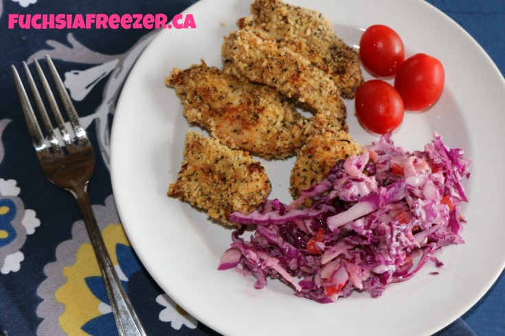 Chicken with slaw and tomatoes