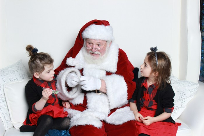 2 girls with Santa