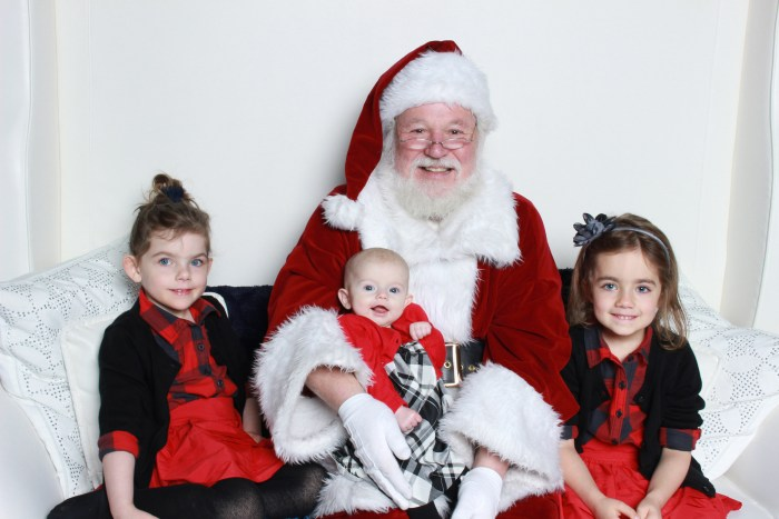 3 girls with Santa