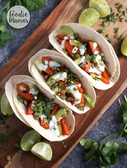 Chili Roasted Carrot and Avocado Tacos