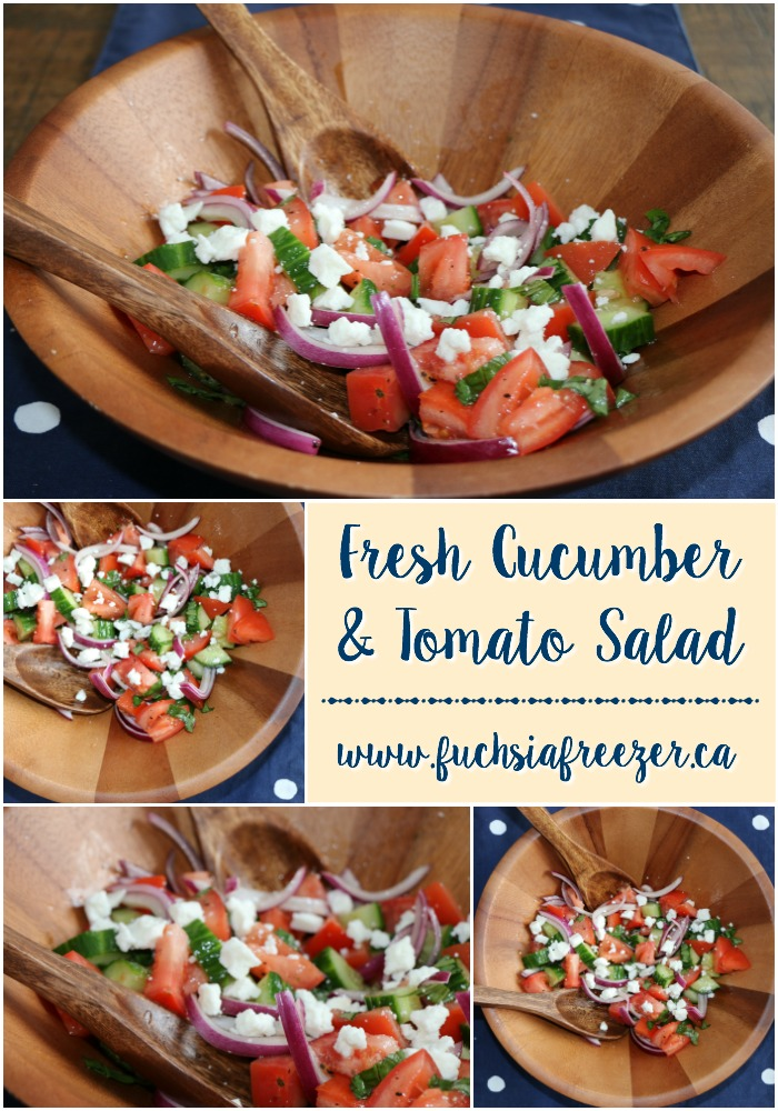 A few simple ingredients and 5 minutes makes this healthy, delicious and bright salad! Fresh Cucumber & Tomato Salad is perfect for picnics, potlucks and barbecue season! Yum!