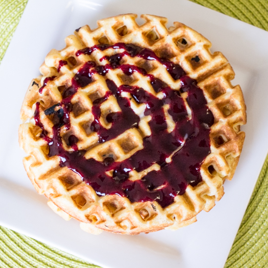 Buttermilk Cornmeal Waffles with Blackberry Syrup