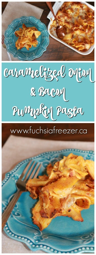 Caramelized Onion & Bacon Pumpkin Pasta! A delicious meal full of fall flavours! Enjoy any night of the week, or make it as a special meal on the weekend.