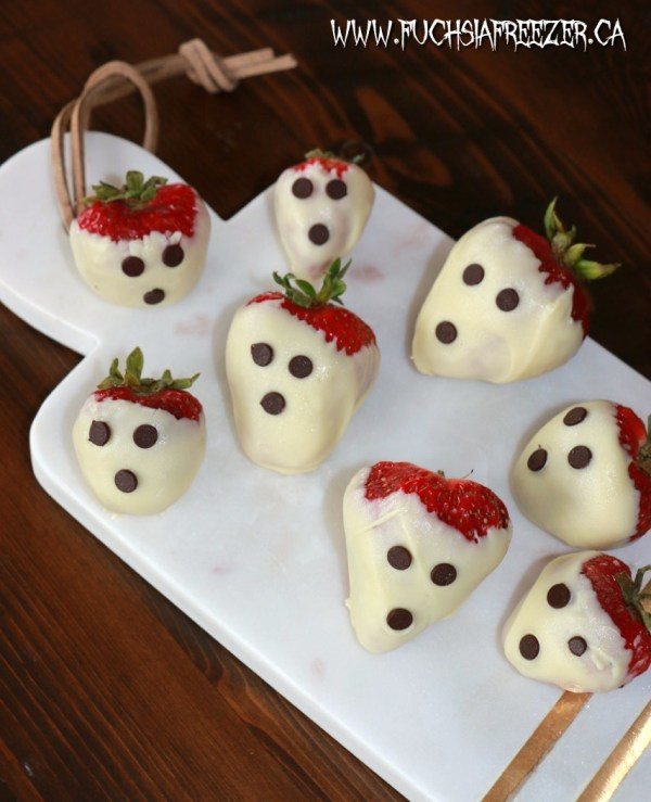 Spooky white chocolate covered strawberries