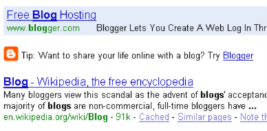 ricerca per blog in google