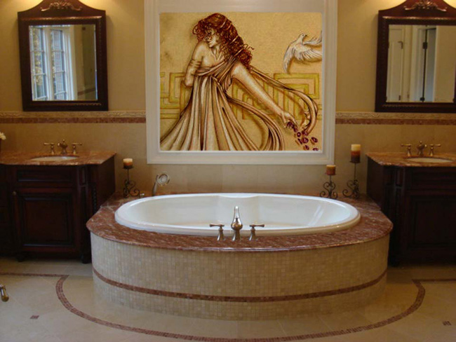 Custom Tub Deck From Marble Slab Fuda Tile