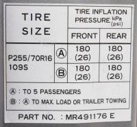 Sample tire pressure label