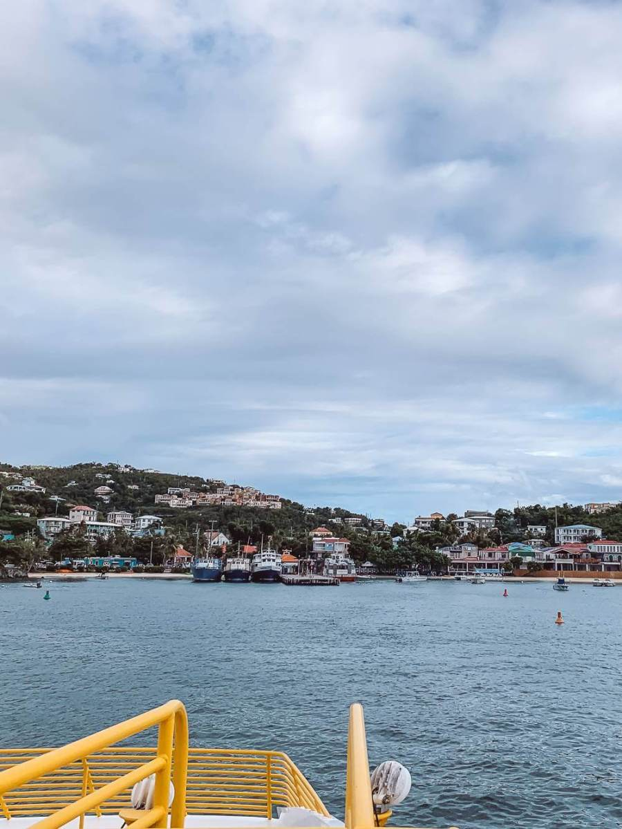 View of Cruz Bay from the ferry to St John USVI