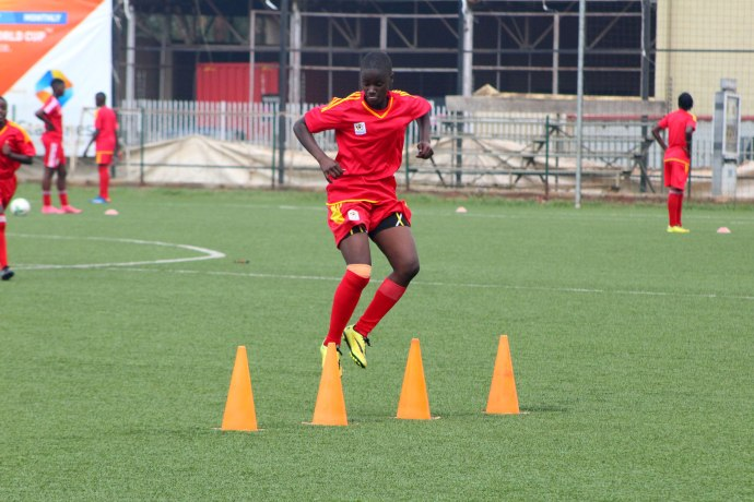 Crested Cranes striker Juliet Nalukenge during training at Lugogo