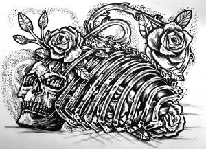 Skull Rose Ribcage