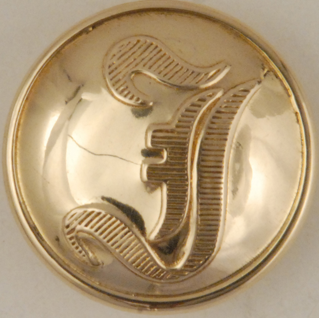 """186 """"I"""" Brass High Domed Button"""