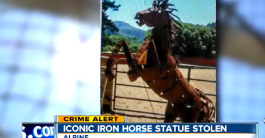 Suspect Caught on Camera Stealing 12-Foot Wrought Iron Horse