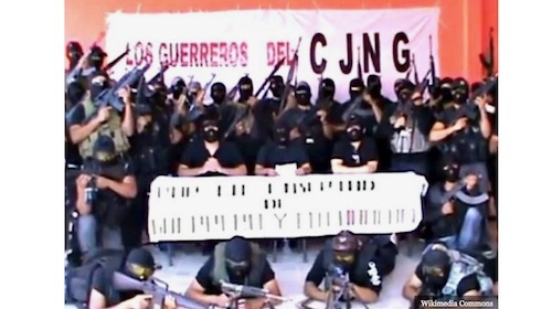 CJNG posing with weapons