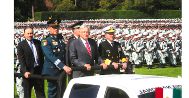 President Lopez Obrador at the inauguration of the National Guard
