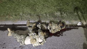 The cartel gunmen were dressed in military grade combat uniforms and gear.