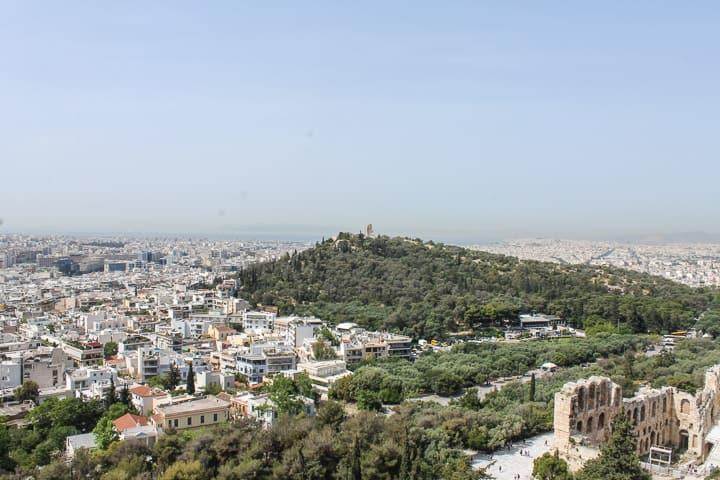 Acrópole de Atenas - vista desde o Odeão de Herodes Ático