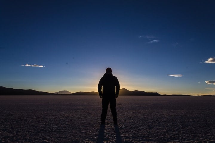 Por do sol no deserto de Sal - primeiro dia de tour no Salar de Uyuni