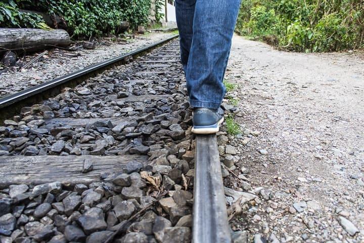 Trilhos do trem em Águas Calientes