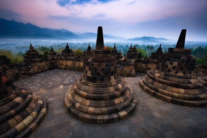 Dawn at the temple of Borobodur, Indonesia. Fuji X-T1 & XF10-24mm