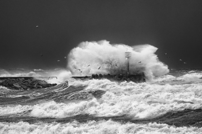 """""""Barbara"""" was only a prelude – At the beginning of January 2017 Low Front """"Alex"""" was making havoc. Strong North wind was pushing a lot of water inside the harbours causing loss. Waves were more than 5 meters. Fuji XPro-2, XF 50-140, 1/125s, f4, ISO 4000"""