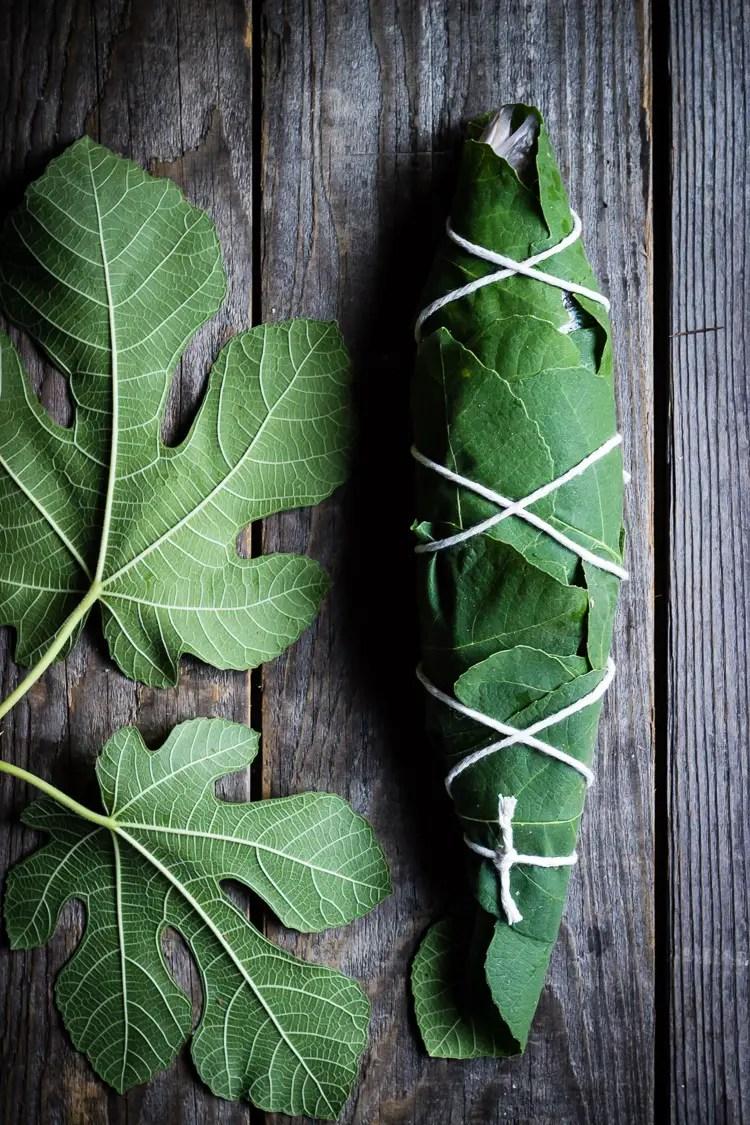 fig leaf wrapped fish