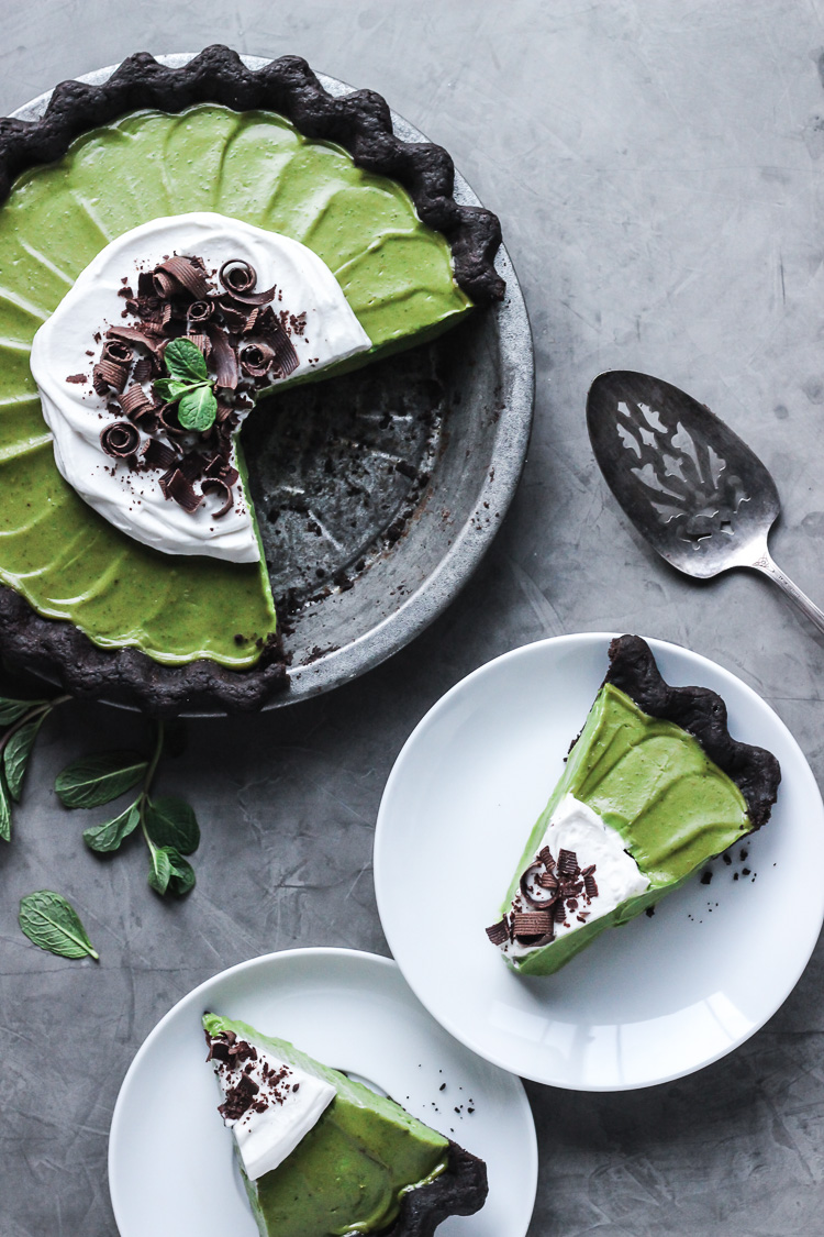matcha mint grasshopper pie