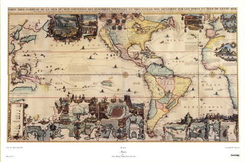 Map of North and South America  c 1700s Fine Art Print by Henri     Framed Map of North and South America  c 1700s Print