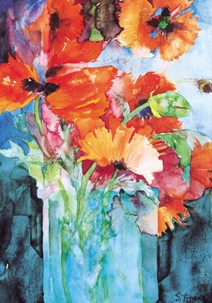 Oriental Poppies Fine Art Print By Shirley Trevena At