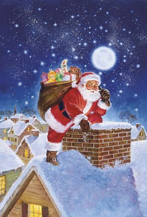 Santa On Rooftop Fine Art Print By Hal Frenck At