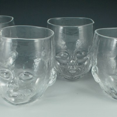 Set of 4 Clear Baby Head Cups