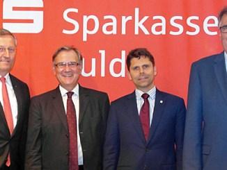 Alois Früchtl Vorstandsvorsitzender Sparkasse Fulda, Georg Huber DSGV, Marco Reuter MIT Landesvorsitzender und Jürgen Diener MIT-Kreisvorsitzender. (v.l.)