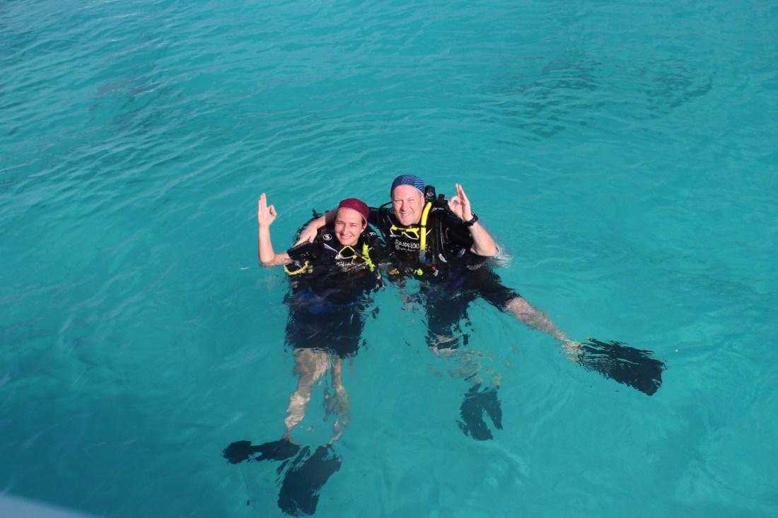 happy scuba divers