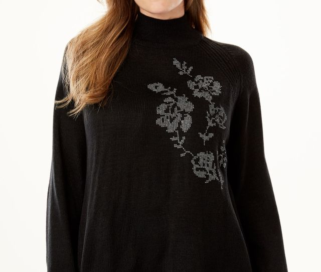 Metallic Flower Embroidered Sweater