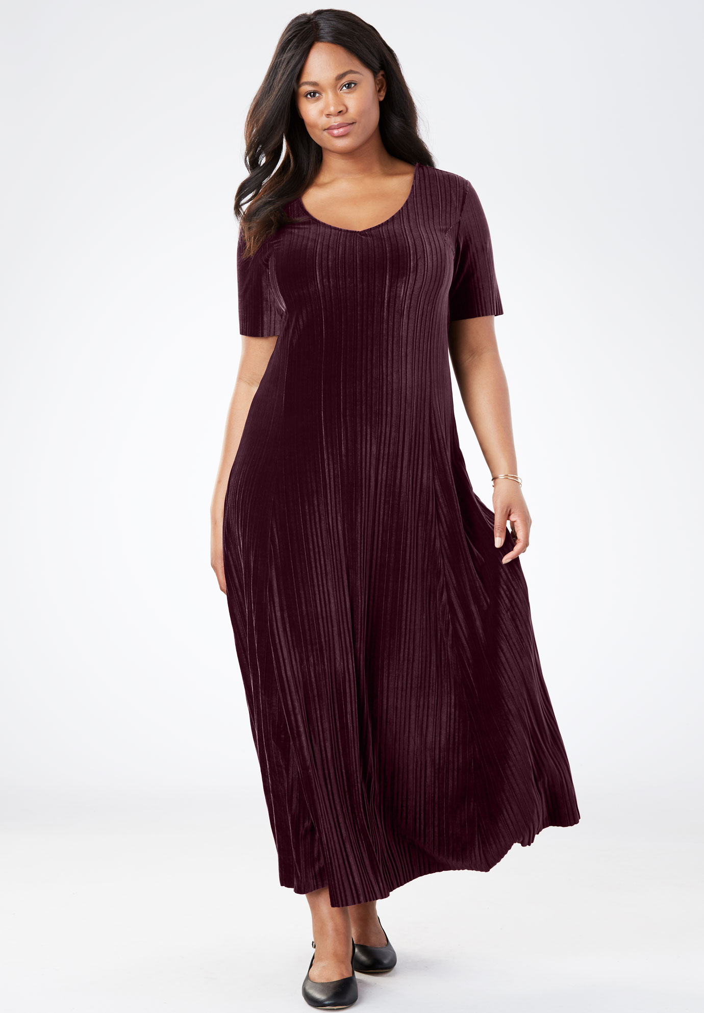 Pleated Velour Dress Plus Size Special Occasion