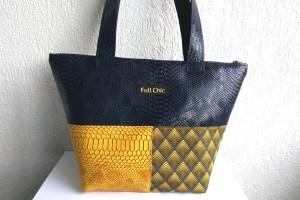 sac patchwork bleu moutarde