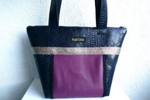 sac bleu prune doré