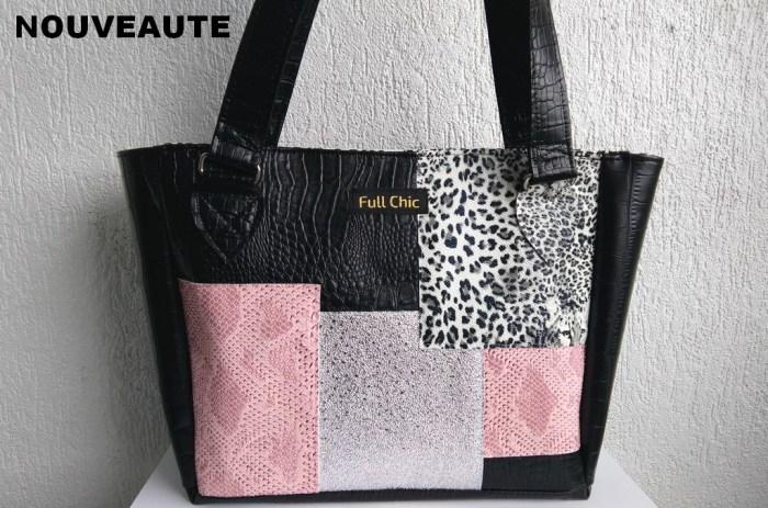 sac patch noir rose leopard