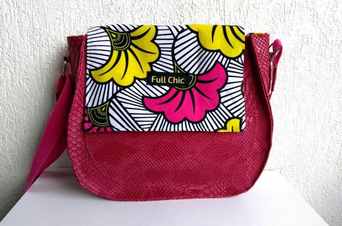sac band wax fuchsia fleurs