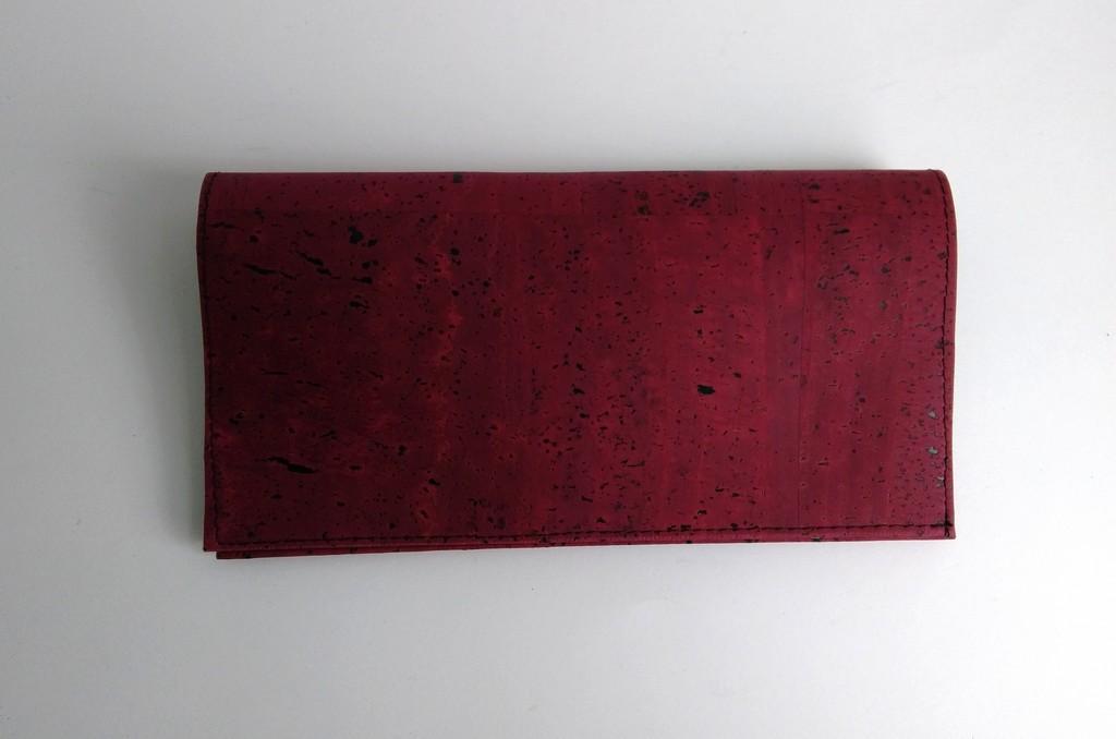 Porte-chéquier liège rouge grenat