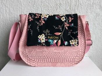 sac besace rose fleurs