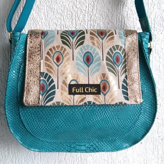 sac besace turquoise paon