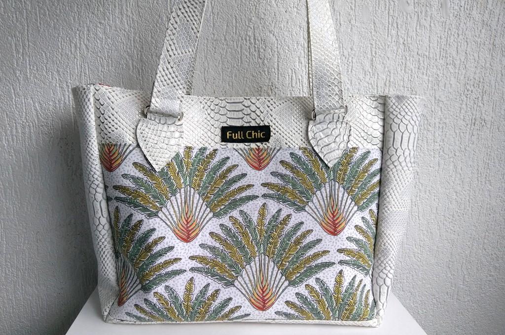 sac blanc feuilles palmier
