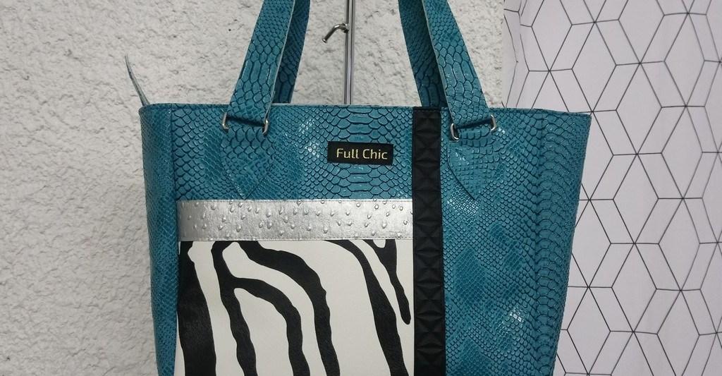 sac turquoise zebre argent