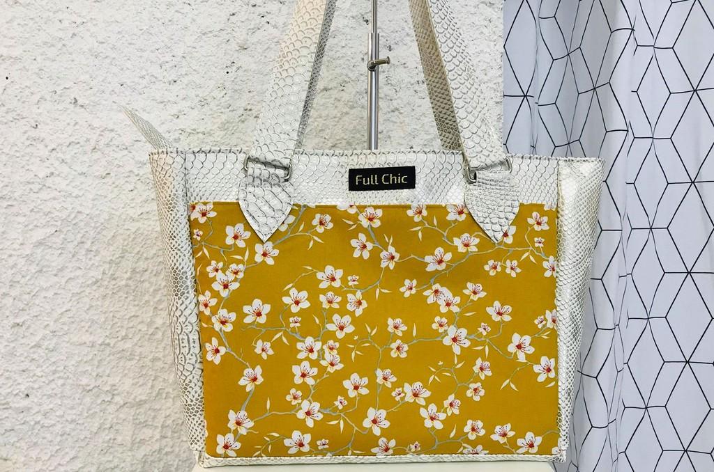 sac blanc amandier jaune
