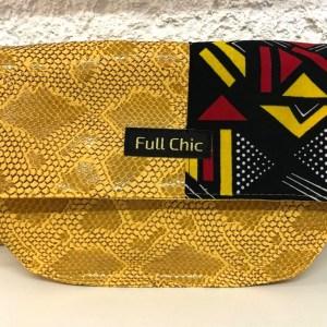 mini besace jaune wax triangle