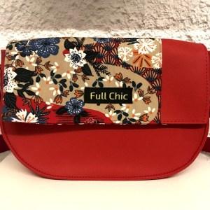 mini besace rouge fleurs japon