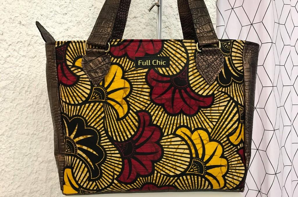 sac marron wax fleurs