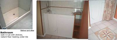 Complete bathroom renovation with walk-in tub