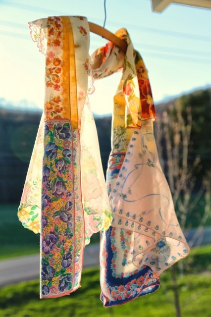 One of Jon's beautiful photos  of my Vintage Hankie Scarf,