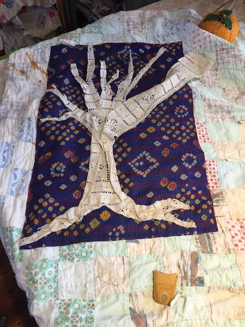Working on the lace tree.